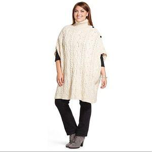 525 America 262.5 Womens Plus Size Poncho Sweater